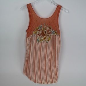 Free People Lace stripped floral Tank top